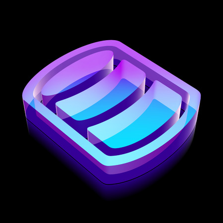 glass reflection: Programming icon: 3d neon glowing Database made of glass with reflection on Black background Illustration