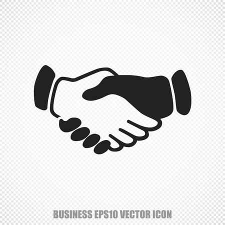 black handshake: The universal icon on the business theme: Black Handshake. Modern flat design. Illustration