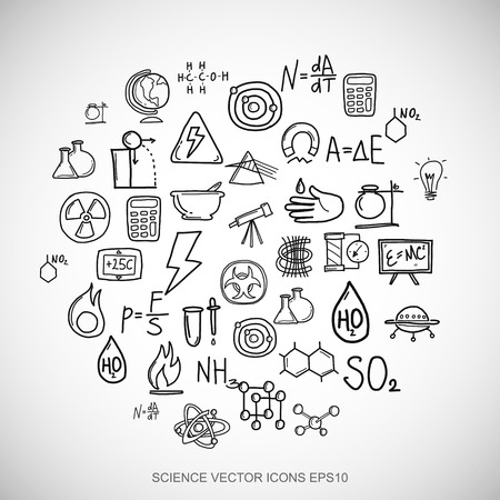 Black doodles flat Hand Drawn Science Icons set In A Circle on White background