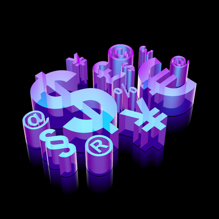 glass reflection: Business icon: 3d neon glowing Finance Symbol made of glass with reflection on Black background Illustration