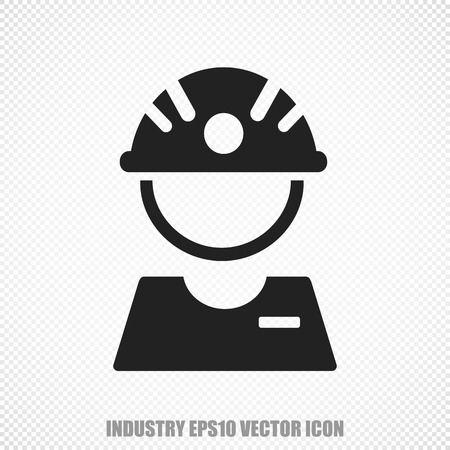 factory worker: The universal icon on the Manufacuring theme: Black Factory Worker. Modern flat design. Illustration