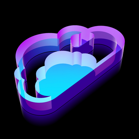 glass reflection: Cloud networking icon: 3d neon glowing Cloud made of glass with reflection on Black background