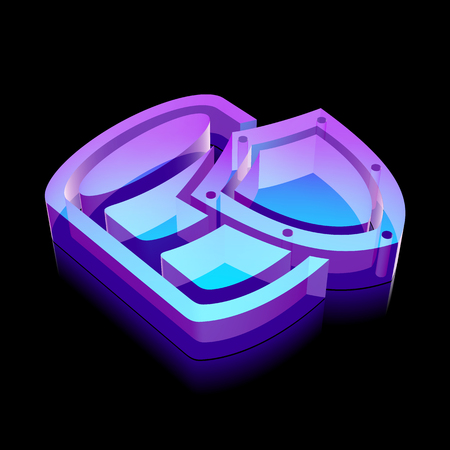glass reflection: Software icon: 3d neon glowing Database With Shield made of glass with reflection on Black background Illustration