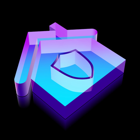 home made: Finance icon: 3d neon glowing Home made of glass with reflection on Black background