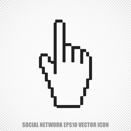 microblog: The universal icon on the social media theme: Black Mouse Cursor. Modern flat design.