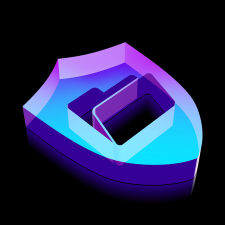 glass reflection: Business icon: 3d neon glowing Folder With Shield made of glass with reflection on Black background