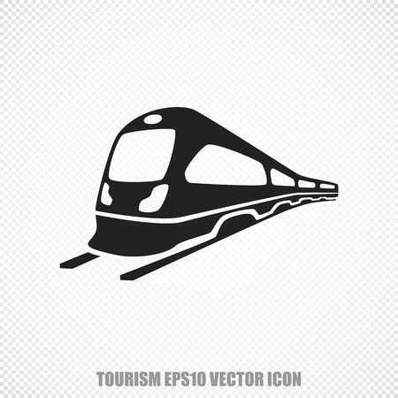 black train: The universal icon on the travel theme: Black Train. Modern flat design.