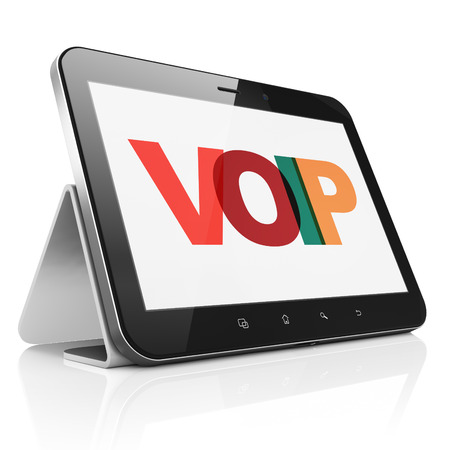 voip: Web development concept: Tablet Computer with Painted multicolor text VOIP on display, 3D rendering