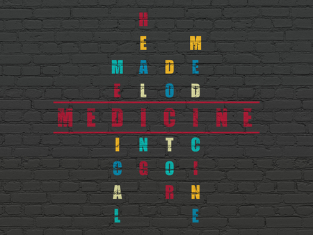 word medicine: Healthcare concept: Painted red word Medicine in solving Crossword Puzzle