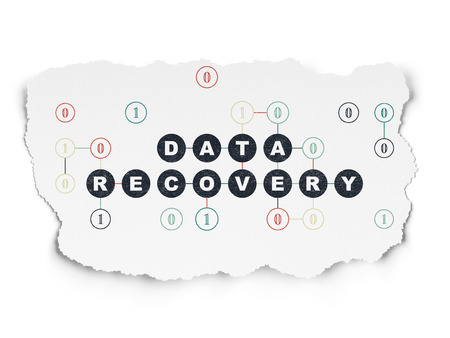 data recovery: Data concept: Painted black text Data Recovery on Torn Paper background with Scheme Of Binary Code