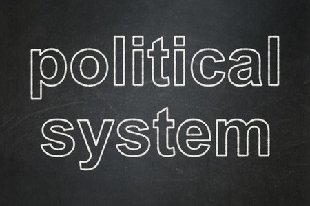 political system: Politics concept: text Political System on Black chalkboard background