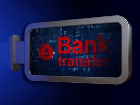 bank transfer: Banking concept: Bank Transfer and Dollar Coin on advertising billboard background, 3D rendering
