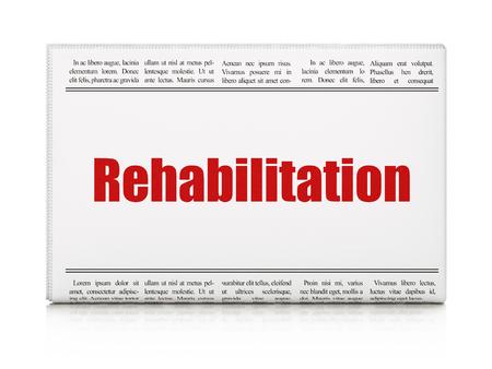 newspaper headline: Health concept: newspaper headline Rehabilitation on White background, 3D rendering Stock Photo