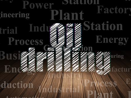 drill floor: Manufacuring concept: Glowing text Oil Drilling in grunge dark room with Wooden Floor, black background with  Tag Cloud