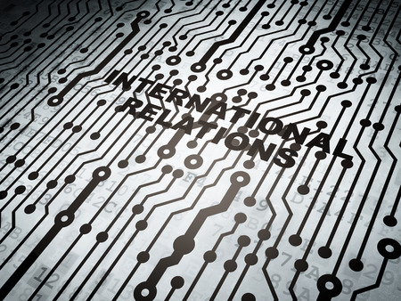 relations: Politics concept: circuit board with  word International Relations, 3D rendering Stock Photo