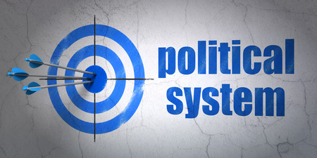 political system: Success political concept: arrows hitting the center of target, Blue Political System on wall background, 3D rendering