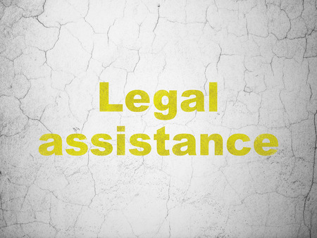 concrete court: Law concept: Yellow Legal Assistance on textured concrete wall background