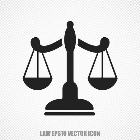The universal icon on the law theme: Black Scales. Modern flat design.