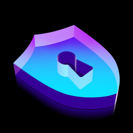glass reflection: Protection icon: 3d neon glowing Shield With Keyhole made of glass with reflection on Black background Stock Photo