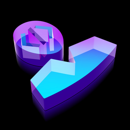 glass reflection: Software icon: 3d neon glowing Programmer made of glass with reflection on Black background Illustration