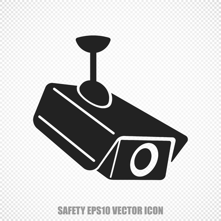 cctv camera: The universal icon on the safety theme: Black Cctv Camera. Modern flat design. Stock Photo