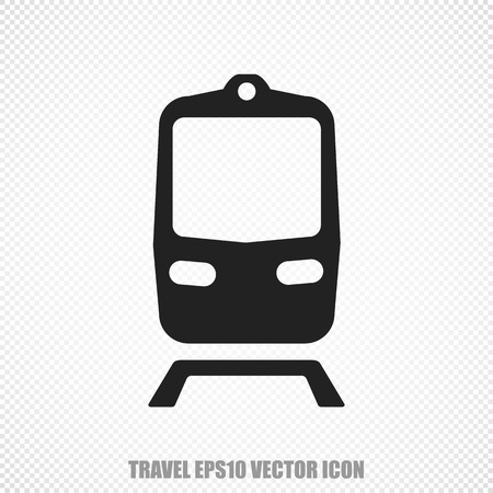 black train: The universal icon on the vacation theme: Black Train. Modern flat design. Stock Photo