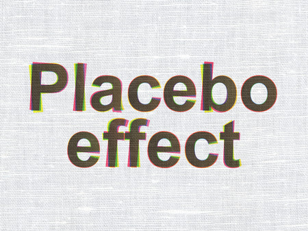 placebo: Medicine concept: CMYK Placebo Effect on linen fabric texture background