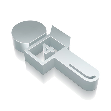 good break: News icon: 3d metallic Microphone with reflection on White background