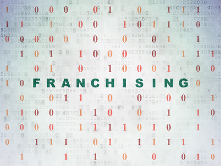 franchising: Finance concept: Painted green text Franchising on Digital Data Paper background with Binary Code Stock Photo