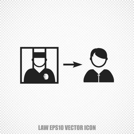 freed: The universal icon on the law theme: Black Criminal Freed. Modern flat design.