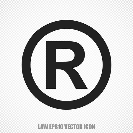 r regulation: The universal icon on the law theme: Black Registered. Modern flat design.