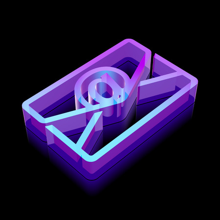 glass reflection: Finance icon: 3d neon glowing Email made of glass with reflection on Black background