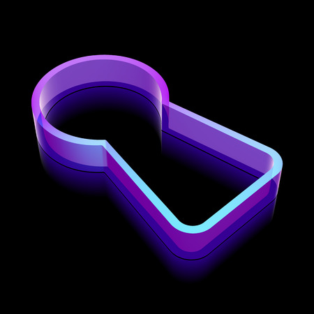glass reflection: Safety icon: 3d neon glowing Keyhole made of glass with reflection on Black background
