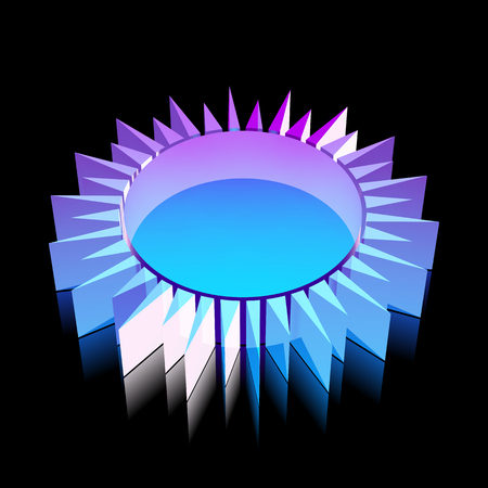 glass reflection: Tourism icon: 3d neon glowing Sun made of glass with reflection on Black background