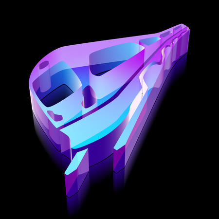 glass reflection: Tourism icon: 3d neon glowing Train made of glass with reflection on Black background Illustration