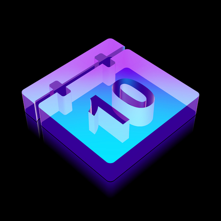 glass reflection: Time icon: 3d neon glowing Calendar made of glass with reflection on Black background Illustration