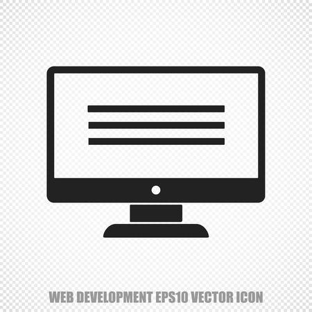 hypertext: The universal icon on the web design theme: Black Monitor. Modern flat design.