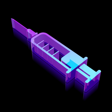 glass reflection: Medicine icon: 3d neon glowing Syringe made of glass with reflection on Black background Illustration