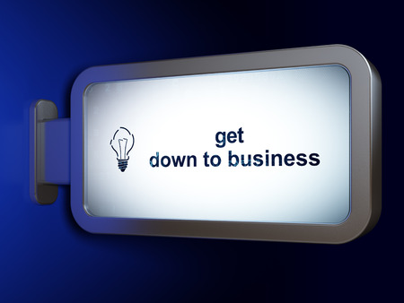 broken strategy: Business concept: Get Down to business and Light Bulb on advertising billboard background, 3D rendering