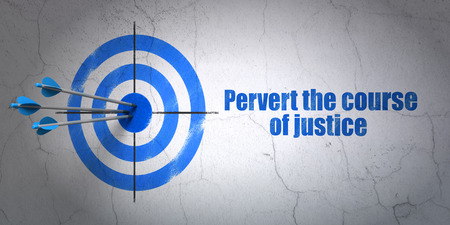 pervert: Success law concept: arrows hitting the center of target, Blue Pervert the course Of Justice on wall background, 3D rendering Stock Photo