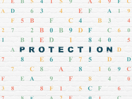 hexadecimal: Protection concept: Painted blue text Protection on White Brick wall background with Hexadecimal Code