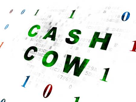 cash cow: Business concept: Pixelated green text Cash Cow on Digital wall background with Binary Code