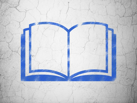 blue book: Learning concept: Blue Book on textured concrete wall background