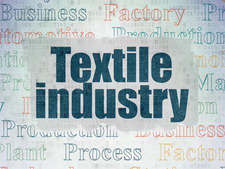 textile industry: concepto Manufacuring: Pintado texto azul de la Industria Textil en el fondo de papel de datos digital con Nube de etiquetas