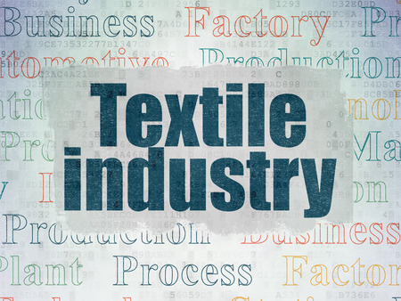 industria textil: Manufacuring concept: Painted blue text Textile Industry on Digital Data Paper background with   Tag Cloud