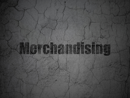 merchandising: Advertising concept: Black Merchandising on grunge textured concrete wall background Stock Photo