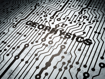 Science concept: circuit board with  word Geophysics, 3D rendering