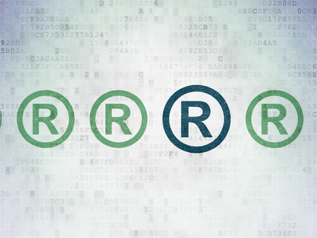 r regulation: Law concept: row of Painted green registered icons around blue registered icon on Digital Data Paper background