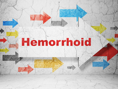 hemorrhoid: Health concept:  arrow with Hemorrhoid on grunge textured concrete wall background, 3D rendering