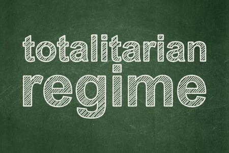 regime: Politics concept: text Totalitarian Regime on Green chalkboard background